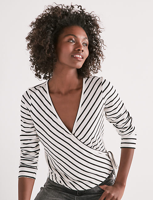STRIPE WRAP LONG SLEEVE TOP,