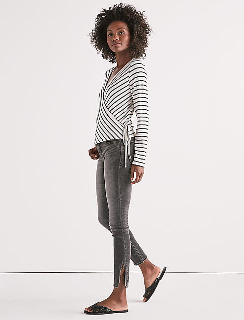 Lucky Stripe Wrap Long Sleeve Top