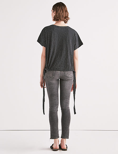 POLKA DOT SIDE TIE TEE,