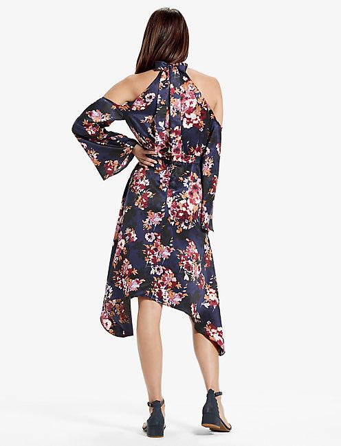 COLD SHOULDER FLORAL DRESS,