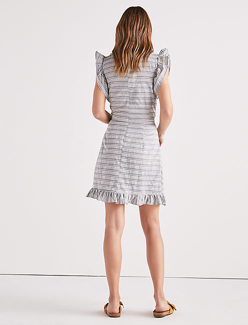 STRIPE RUFFLE DRESS,