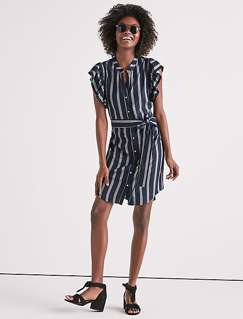 Lucky Flutter Sleeve Stripe Dress