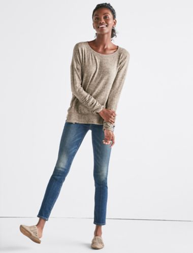 Lucky Ruched Sleeve Pullover