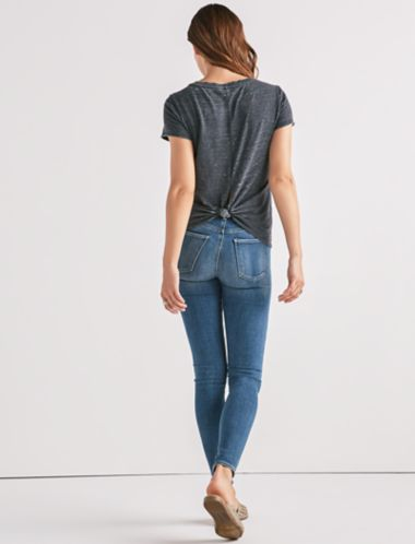 Lucky V-Neck Twist Back Burnout Tee