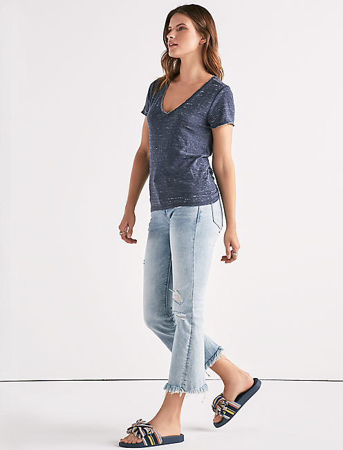 Venice Burnout V-Neck Twist Back Tee,