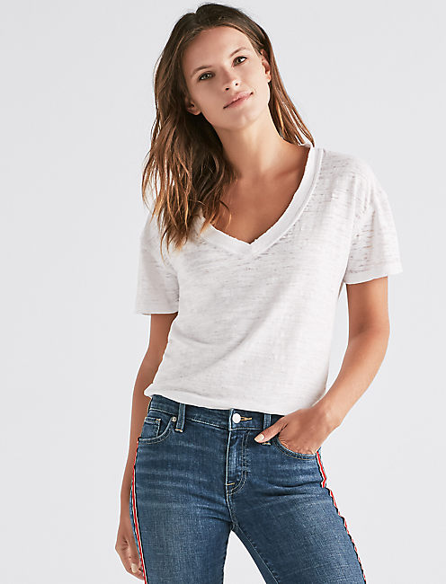 VENICE BURNOUT V-NECK TEE, LUCKY WHITE