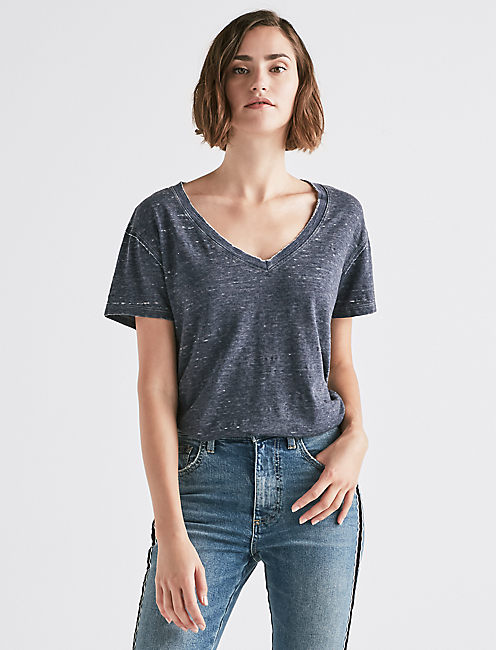 VENICE BURNOUT V-NECK TEE,