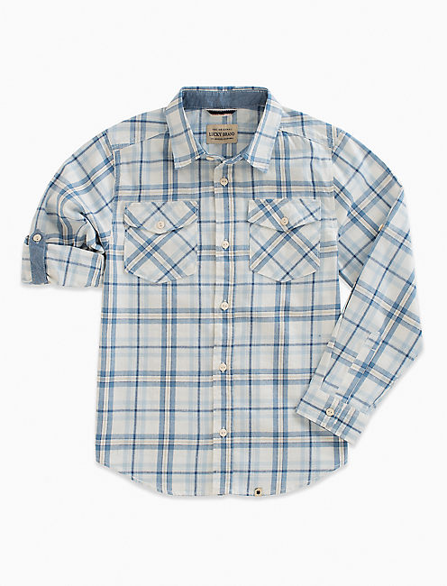 LONG SLEEVE TWILL PLAID SHIRT,