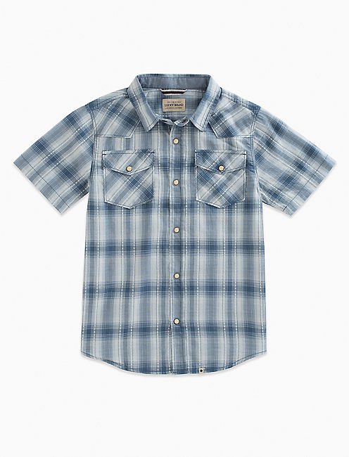 SHORT SLEEVE WESTERN PLAID SHIRT,