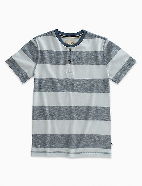 SHORT SLEEVE STRIPED HENLEY,
