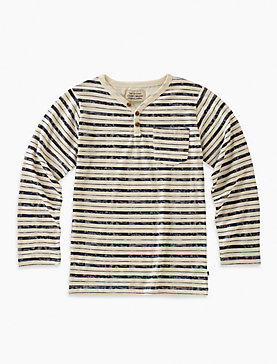 LONG SLEEVE STRIPED Y-NECK HENLEY