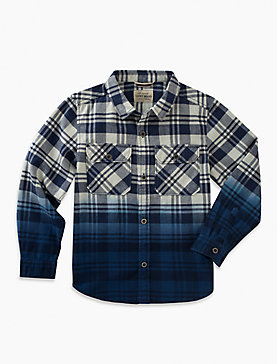 LONG SLEEVE PLAID DIP DYE SHIRT