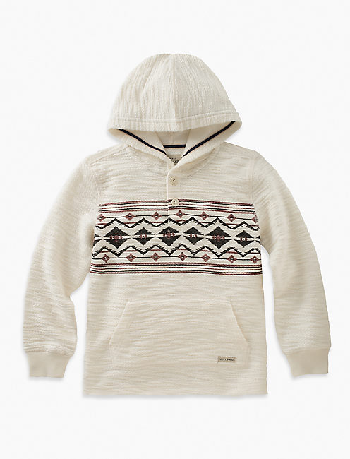 PULLOVER HOODY WITH CHEST PRINT, NATURAL