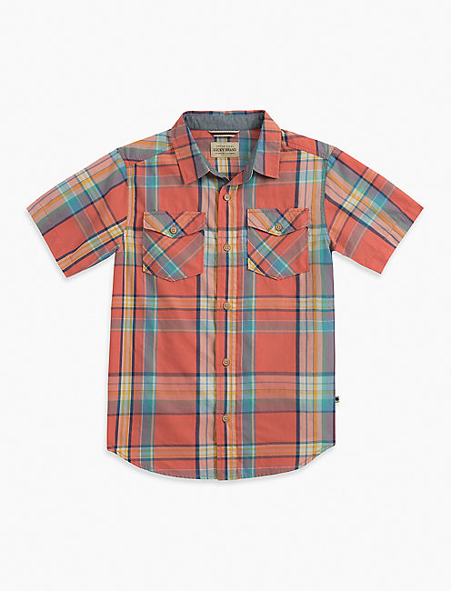 SHORT SLEEVE PLAID SHIRT,