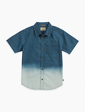 SHORT SLEEVE LIGHT WEIGHT DIP DYE DENIM SHIRT