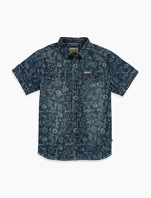 LIGHT WEIGHT PRINTED DENIM SHIRT,