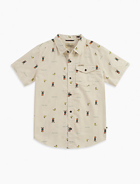 SHORT SLEEVE PRINTED SLUB WOVEN SHIRT
