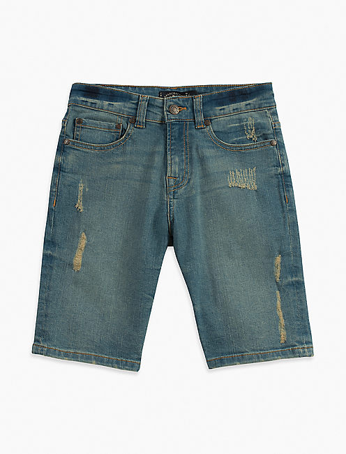 5 POCKET DENIM SHORT WITH RIPS, LIGHT BLUE