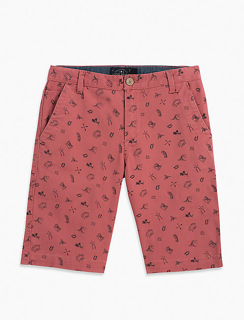 PRINTED DENIM SHORT, MEDIUM RED