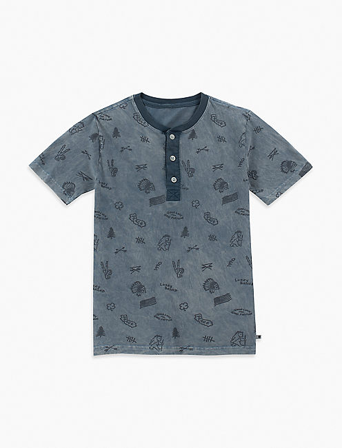 BOYS S-XL ALLOVER PRINT S/S HENLEY,