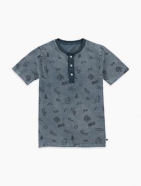 BOYS S-XL ALLOVER PRINT S/S HENLEY