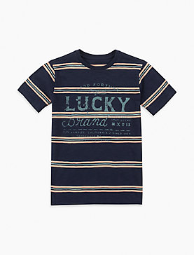 LITTLE BOYS 5-7 SHORT SLEEVE STRIPE SLUB TEE