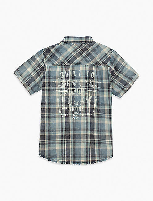 Little Boys 2t-7 Short Sleeve Button Down Plaid Top