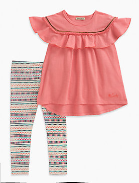 SHORT SLEEVE TOP & STRIPE LEGGINGS SET