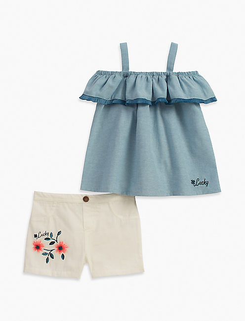 COLD SHOULDER CHAMBRAY TOP & SHORTS SET,