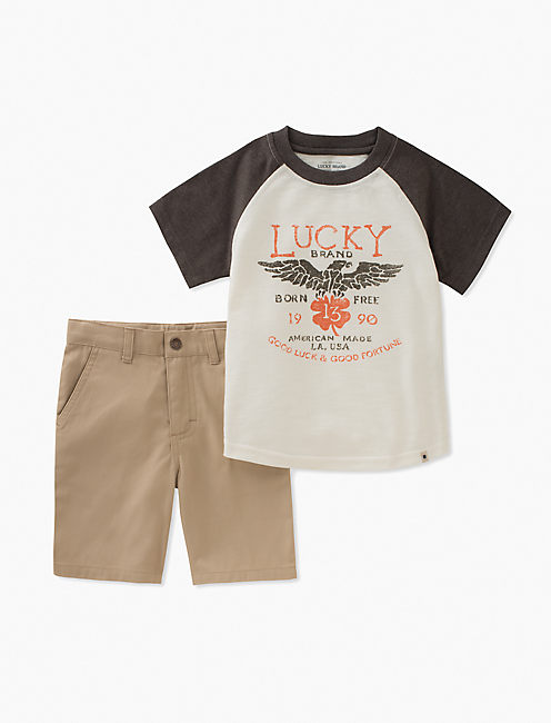 BASEBALL LUCKY TEE & SHORTS SET,