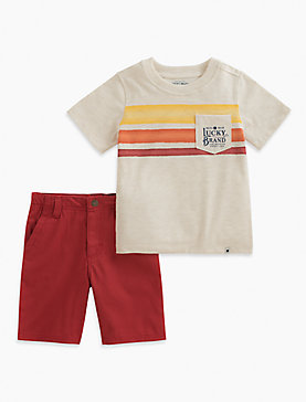 SHORT SLEEVE STRIPE TEE & SHORTS SET