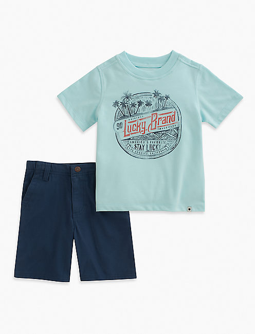 SHORT SLEEVE LUCKY TEE & SHORTS SET, EDI DEFAULT