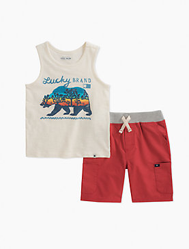 LUCKY BEAR TANK & PULL ON SHORTS SET