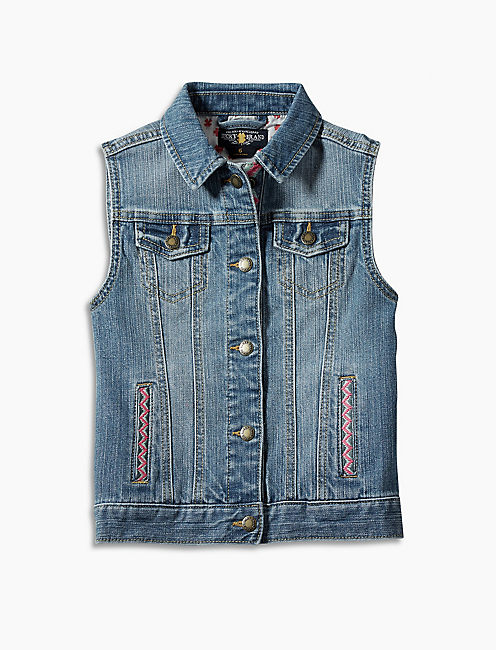 DENIM VEST W/ EMBROIDERY, OPEN BLUE/TURQUOISE