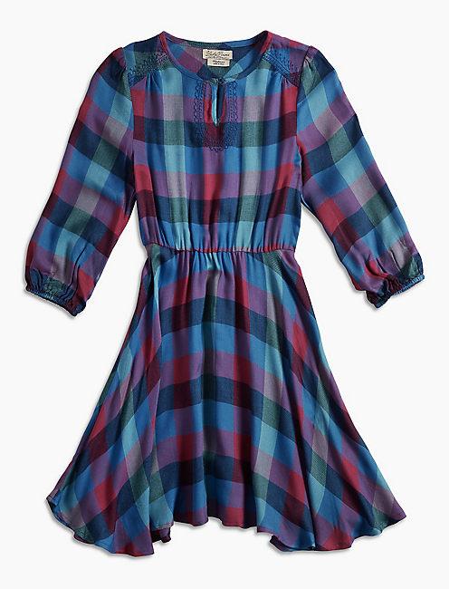 PLAID DRESS, MEDIUM PURPLE