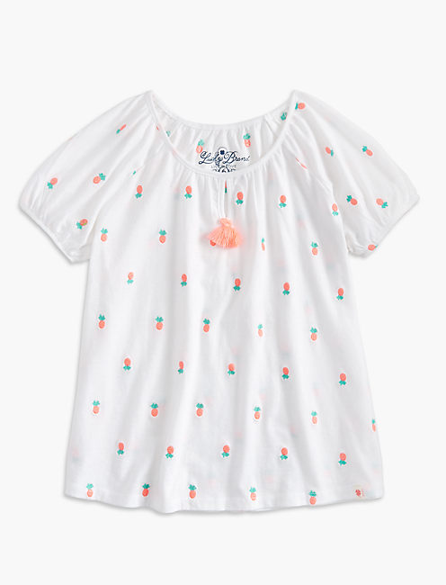 PINEAPPLE EMBROIDERED PEASANT TOP, OPEN WHITE/NATURAL