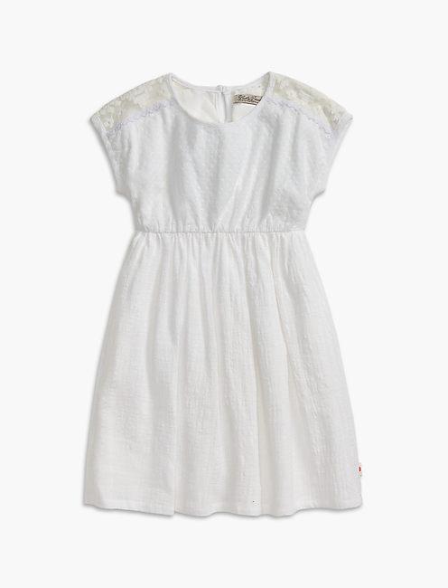 MESH LACE & EYELET DRESS, OPEN WHITE/NATURAL