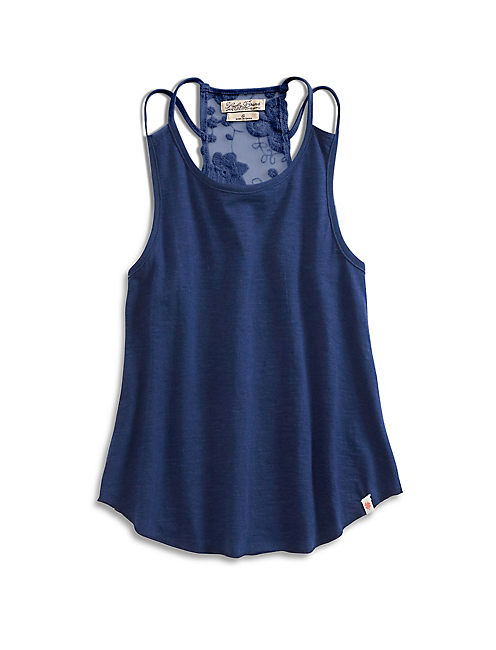 ASHLEIGH LACE TANK, DARK BLUE
