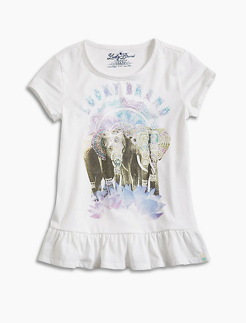 EMBELISHED ELEPHANTS TEE, WHITE