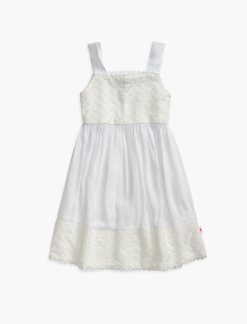 DRESS W/ LACE INSERTS, OPEN WHITE/NATURAL