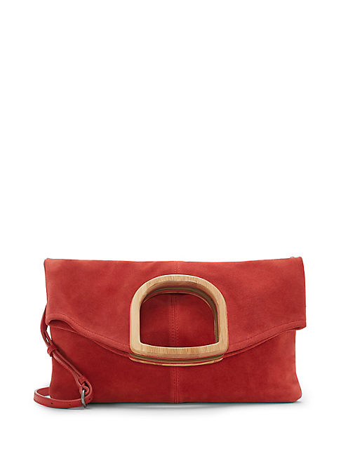RISO WOOD HANDLE CLUTCH, LIGHT RED