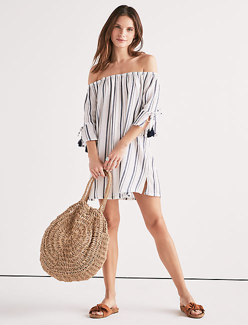 Lucky Stripe Out Off The Shoulder Dress