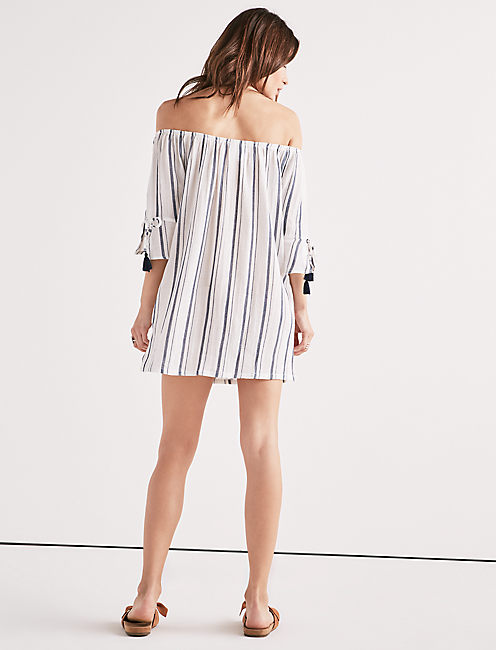 STRIPE OUT OFF THE SHOULDER DRESS,