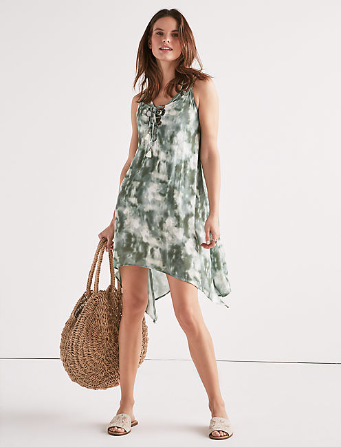 INDIAN SUMMER LACE-UP SWING DRESS, DARK GREEN
