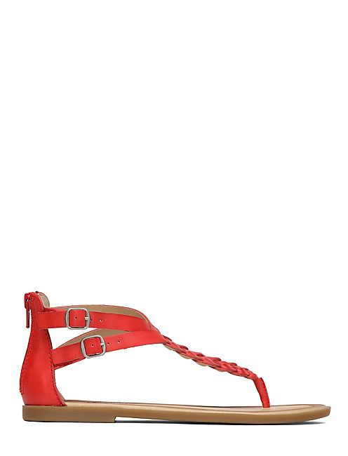 CARROLLE BRAIDED FLAT SAN, OPEN RED