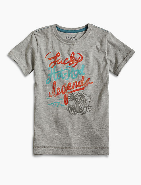 HOT ROD TIRE TEE, OPEN GREY
