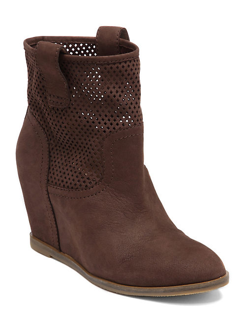 KENO WEDGE BOOTIES, DARK BROWN