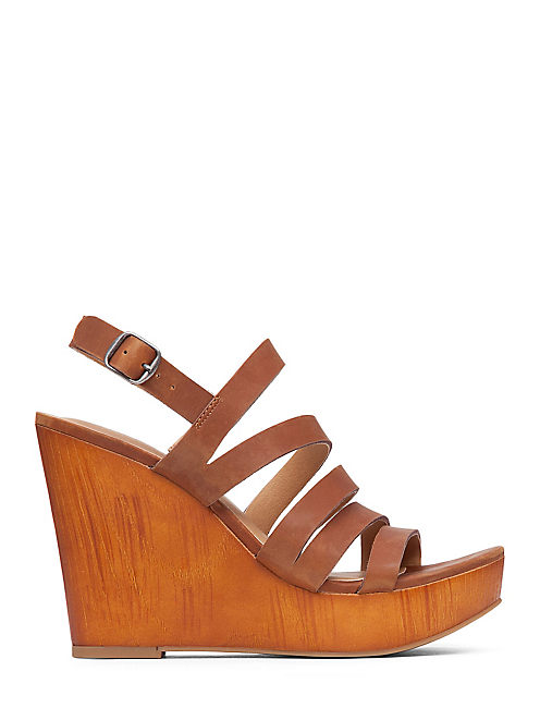 LARINAA WEDGE, OPEN BROWN/RUST