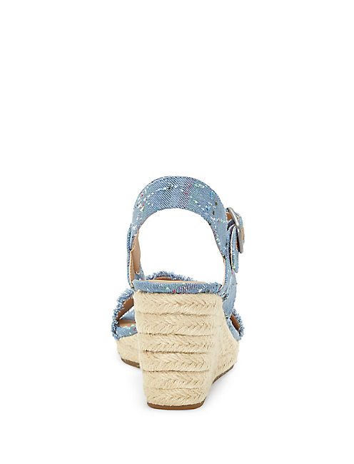 MARCELINE WEDGE, OPEN BLUE/TURQUOISE