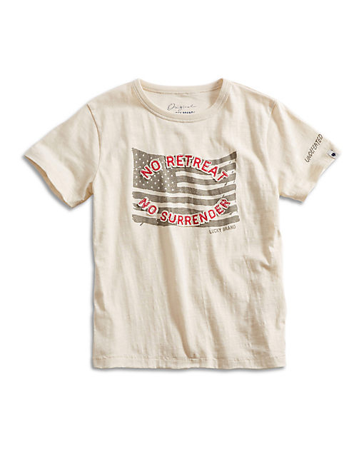 NO RETREAT TEE, LIGHT BEIGE